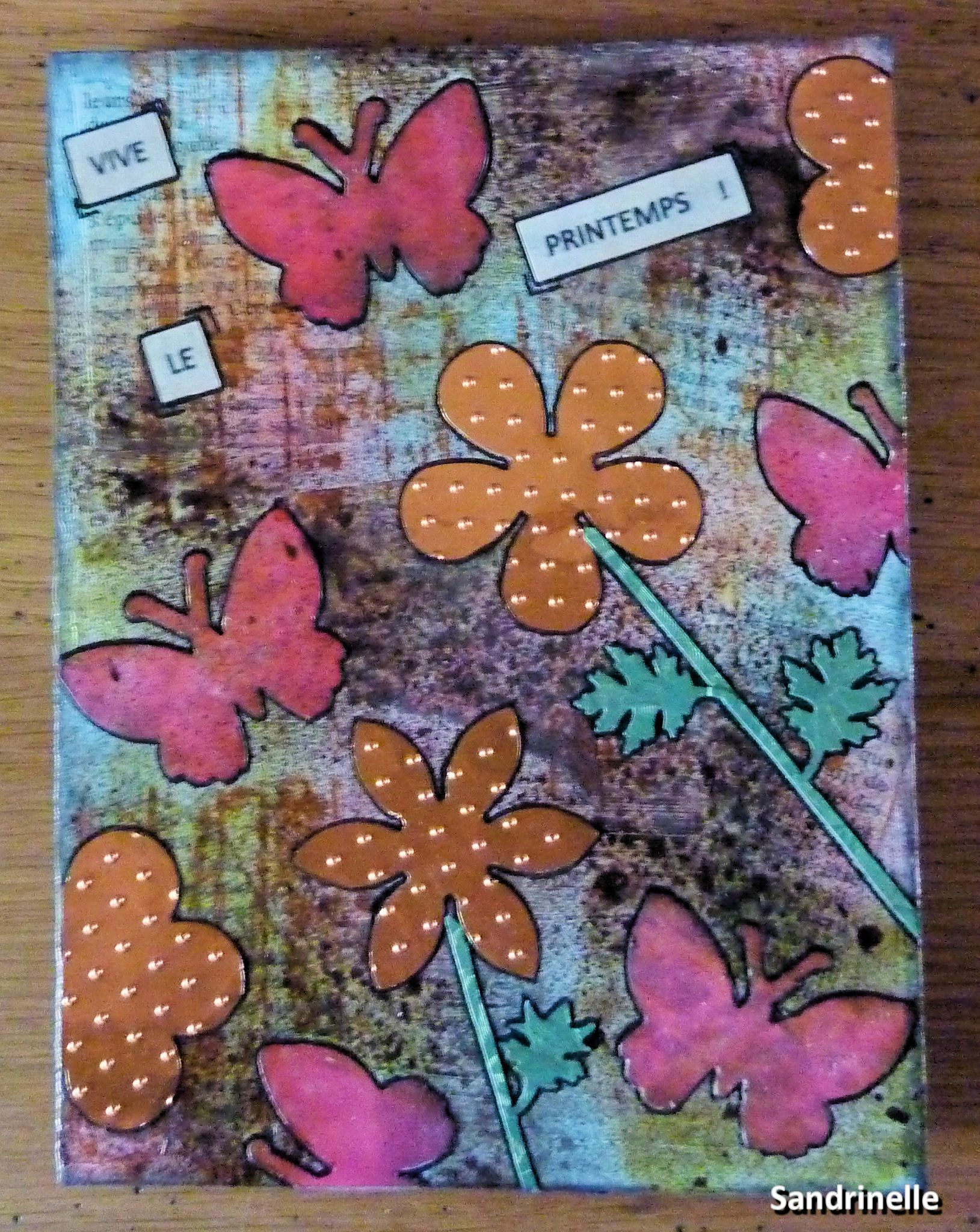 "CARTE MIXED-MEDIA ""VIVE LE PRINTEMPS"""