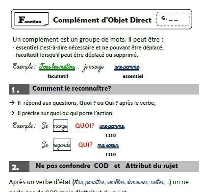 Grammaire - COD et COI - Journal d'une PE ordinaire