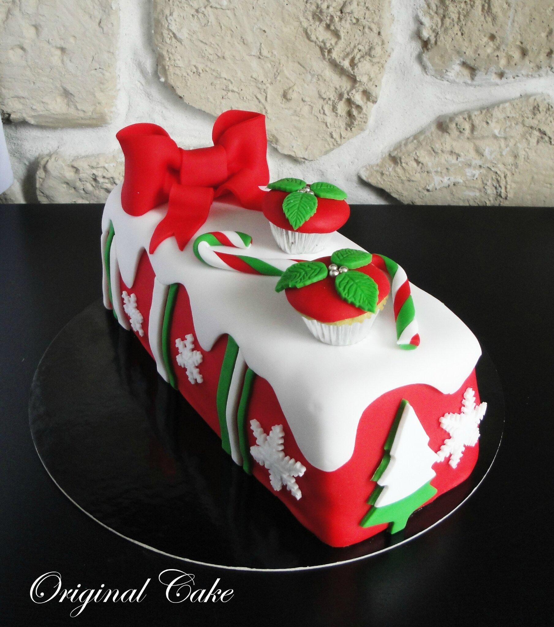 B che d 39 hiver 2014 original cake - Decoration buche de noel comestible ...