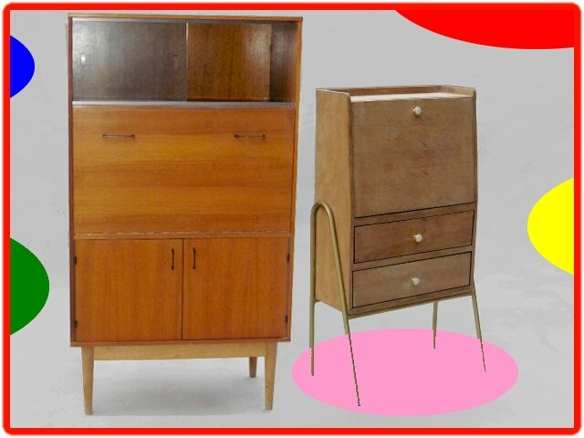 secretaire vintage annees 1960 pieds fuseles meubles et. Black Bedroom Furniture Sets. Home Design Ideas
