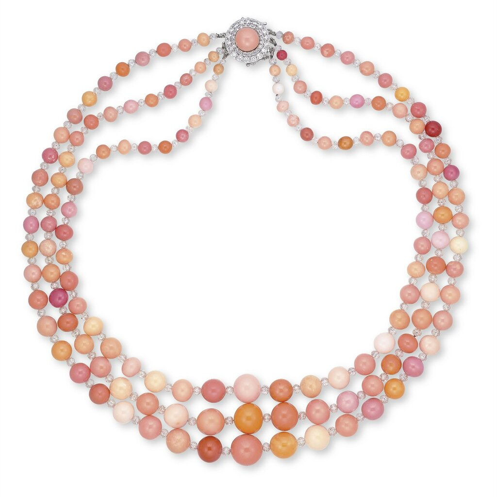 A Three-strand Conch Pearl And Diamond Necklace