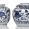 Two blue and white porcelain jars, one with lion mask handles, china, wanli period