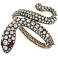 Old mine cut diamond and ruby handmade snake bracelet
