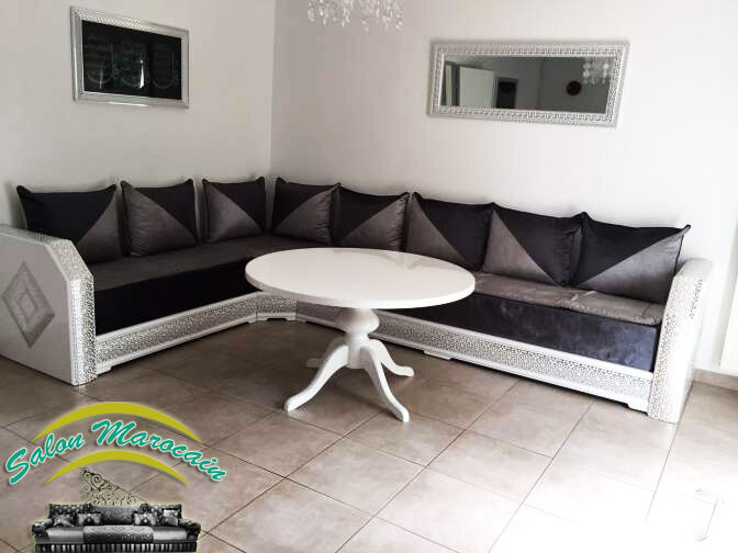 salon marocain argent prestigieux 2016 salon marocain moderne. Black Bedroom Furniture Sets. Home Design Ideas