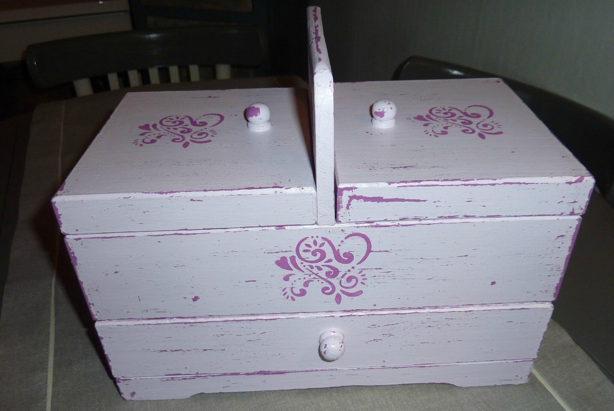 Boite couture vintage effet shabby rose vies de greniers for La boite a couture 03500