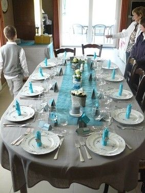 D coration de table gris et turquoise for Decoration de table bleu