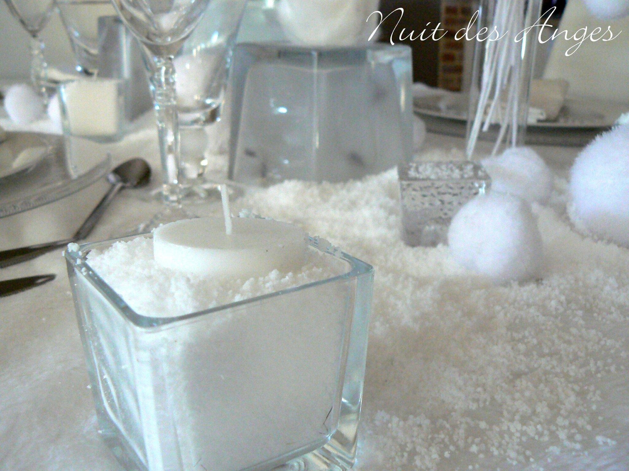 D coration de table hiver blanc nuit des anges for Decoration exterieur hiver