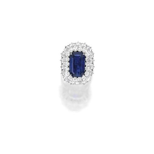 Platinum, Sapphire and Diamond Ring, Harry Winston