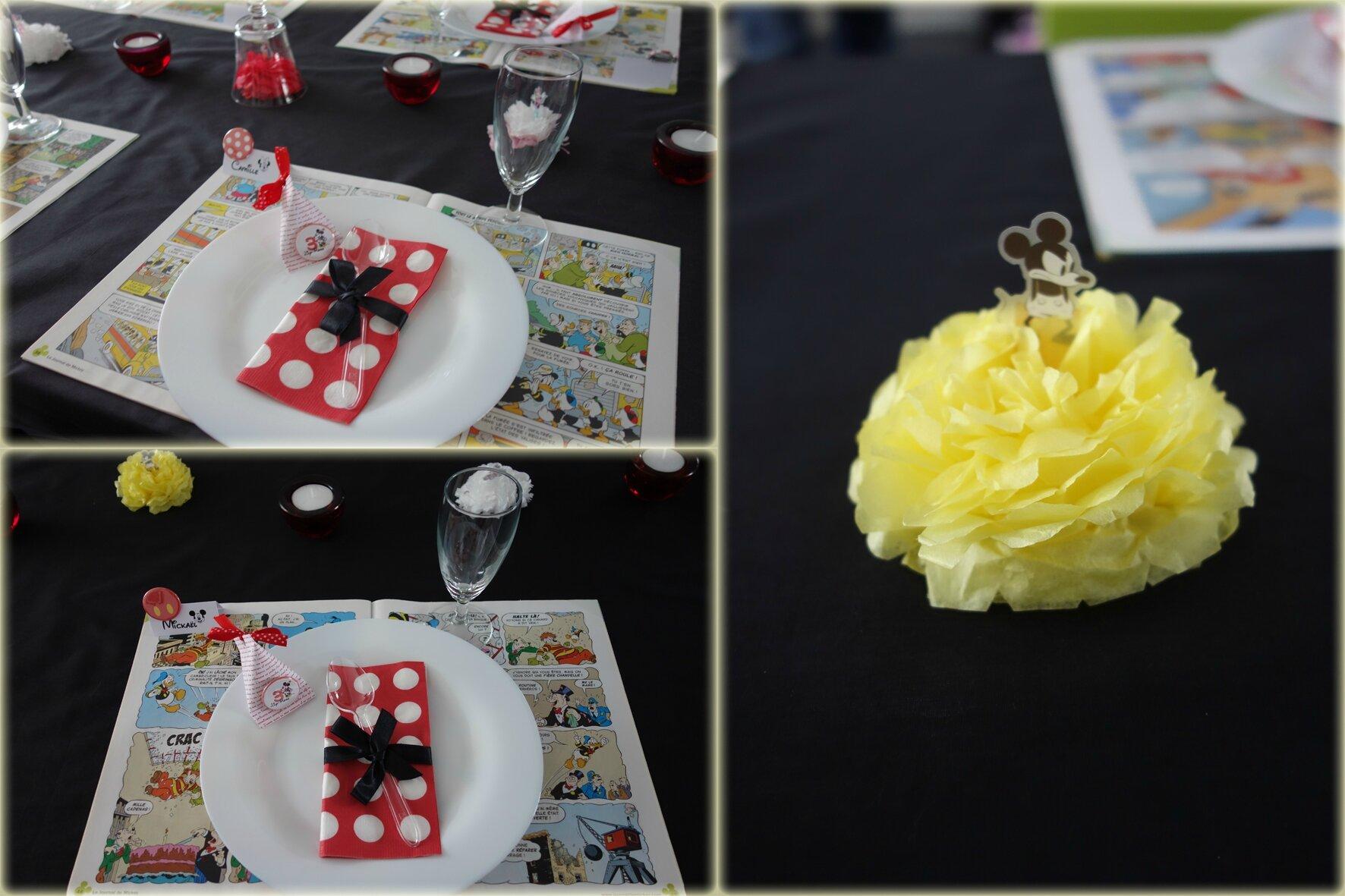 Decoration Table Pois Noir Blanc Rouge