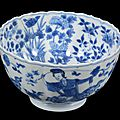 A chinese blue and white ribbed bowl, kangxi period (1662-1722)