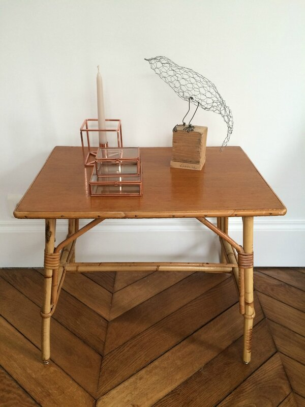 table rectangle rotin