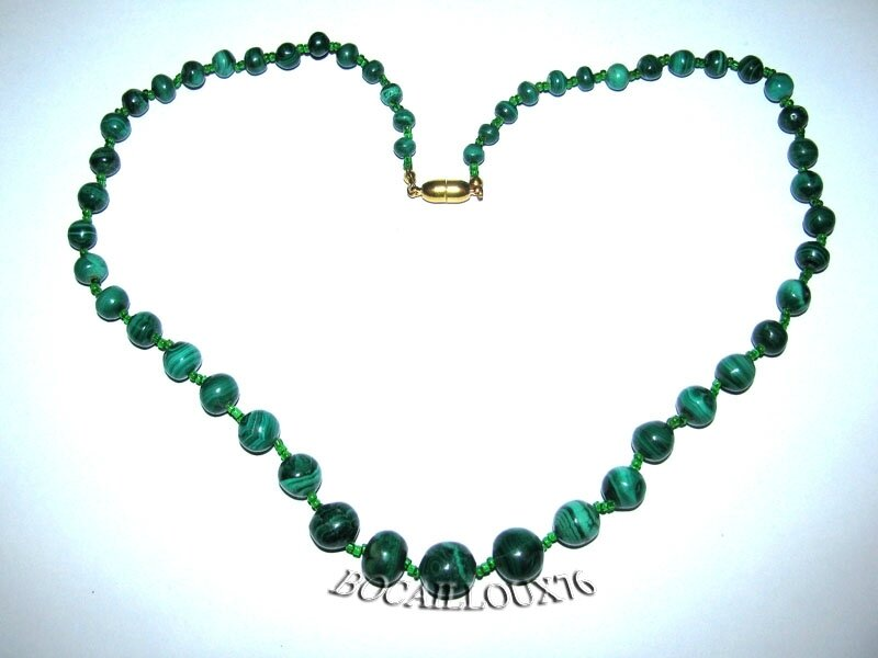 Collier MALACHITE 10 Perles (5)