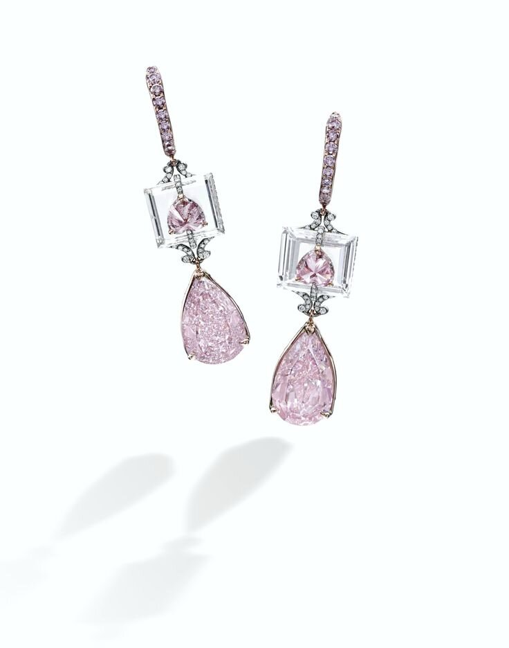 Rare and Exquisite Pair of Fancy Intense Purple-Pink Diamond, Fancy Intense Purplish-Pink Diamond and Diamond Pendent Earrings