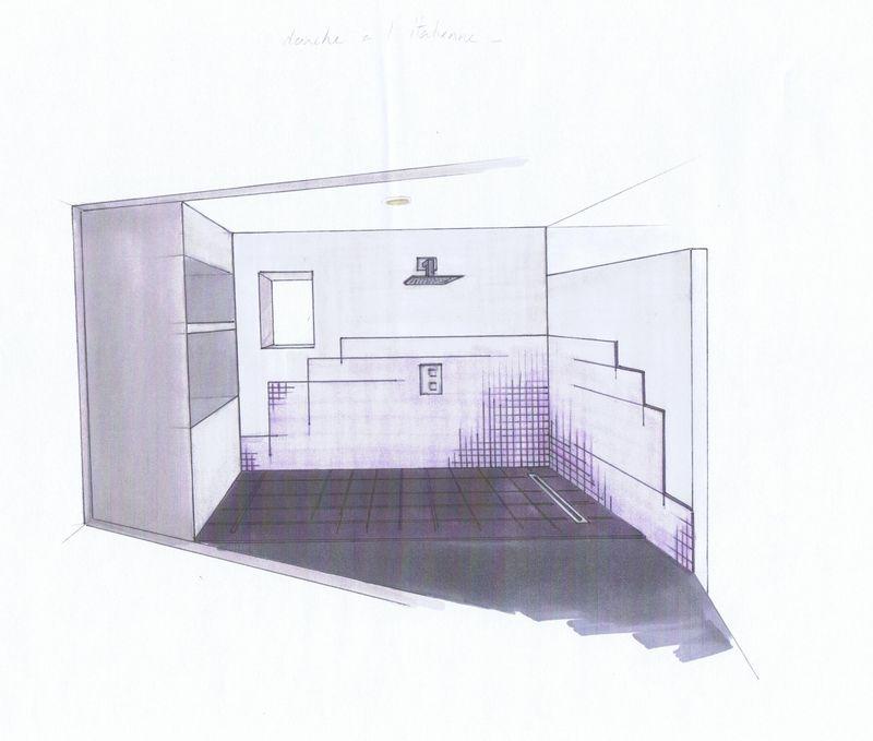 Projet en croquis salle de bain stinside architecture for Croquis salle de bain