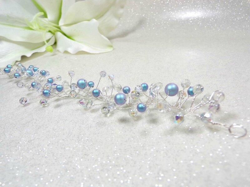 Bijou cheveux mariage voile perles cristal ornement coiffure mariée