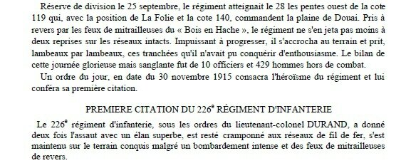 1915 10 septembre Historique 226RI