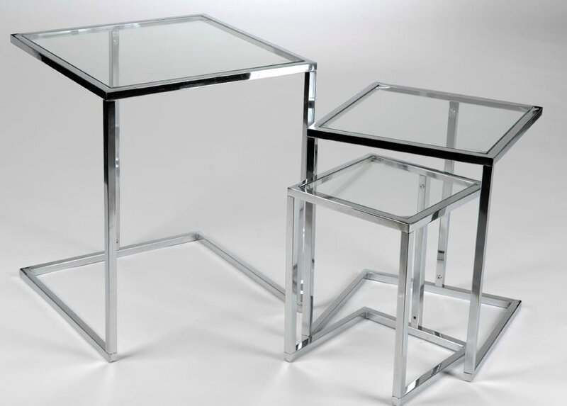 table gigogne verre et chrome
