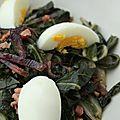 Salade tiède de bettes (ou blettes) aux oeufs