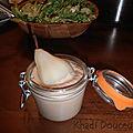 Poires pochées sur velouté de cèpes