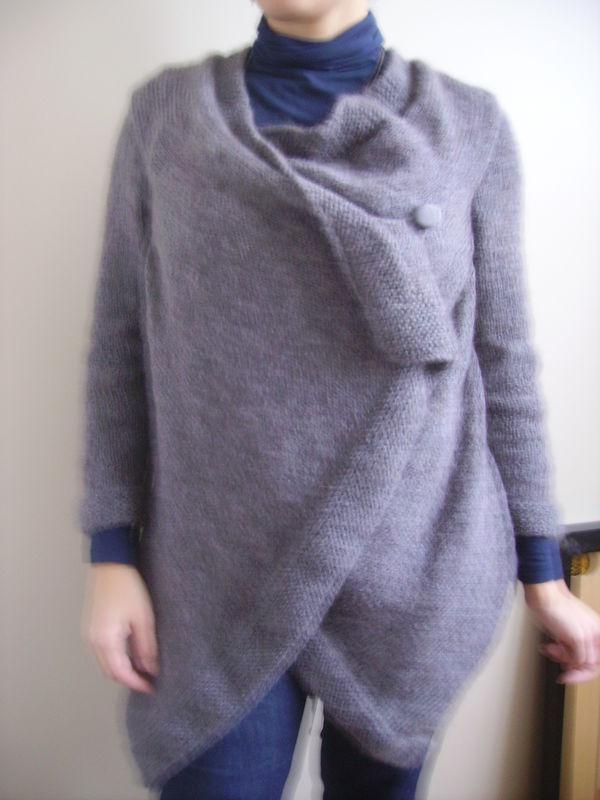 veste longue gris moyen choco glacé