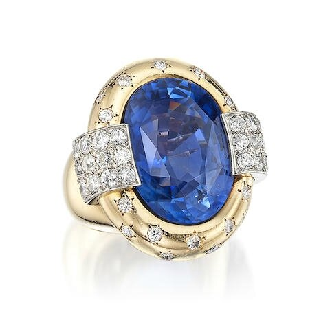 An impressive sapphire and diamond dress ring, by Van Cleef and Arpels, 1946