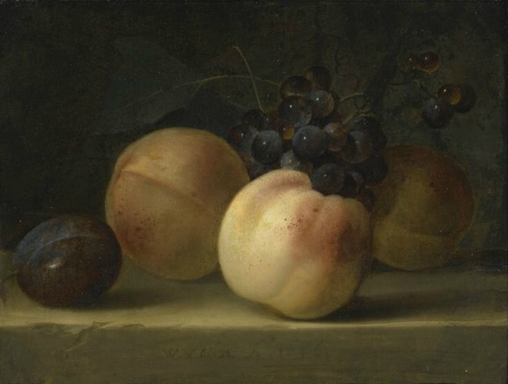 Willem van Aelst (Delft 1627 - In or after 1683 Amsterdam(), Peaches, a Plum, and Grapes on a Ledge