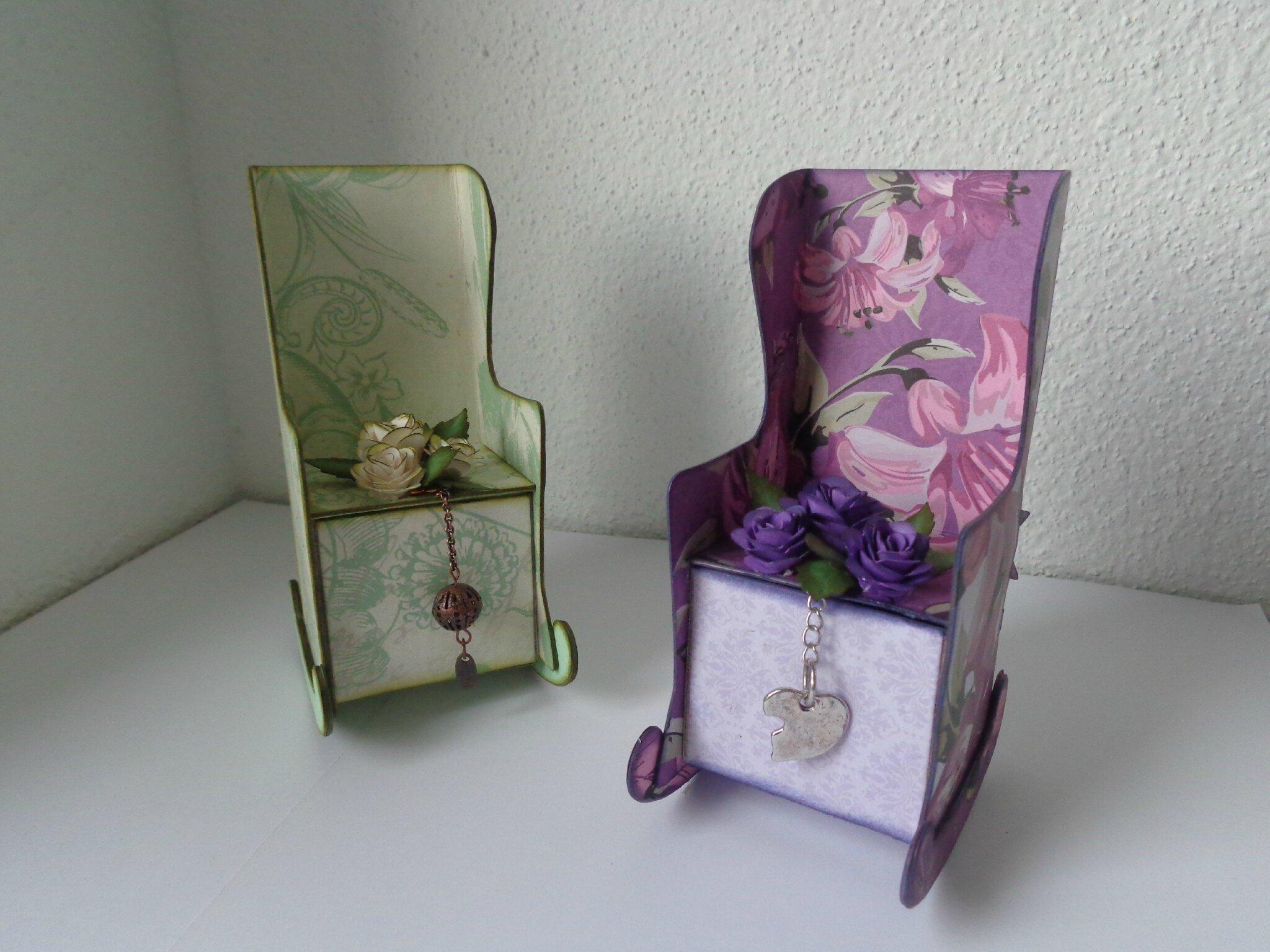 """Petit coffret à bijoux """"fauteuil vert et violet"""""""