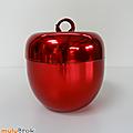 Objet vintage ... pomme à glaçons * métal rouge