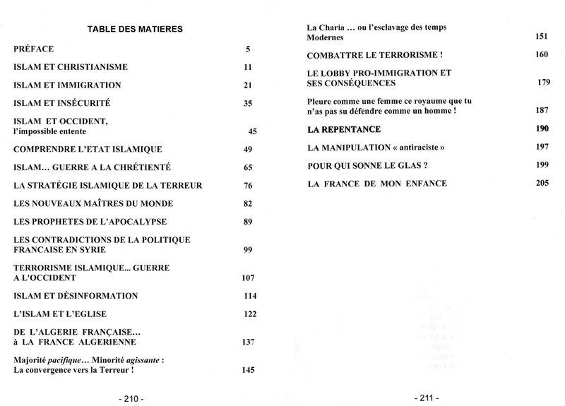 Table des matières TERREUR ISLAMIQUE