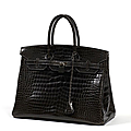 Hermès paris made france. sac birkin 35 cm en crocodile porosus gris graphite