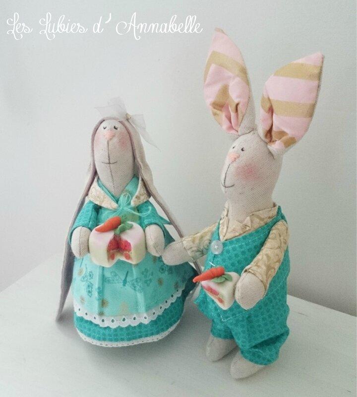 Couple de lapins de Pâques