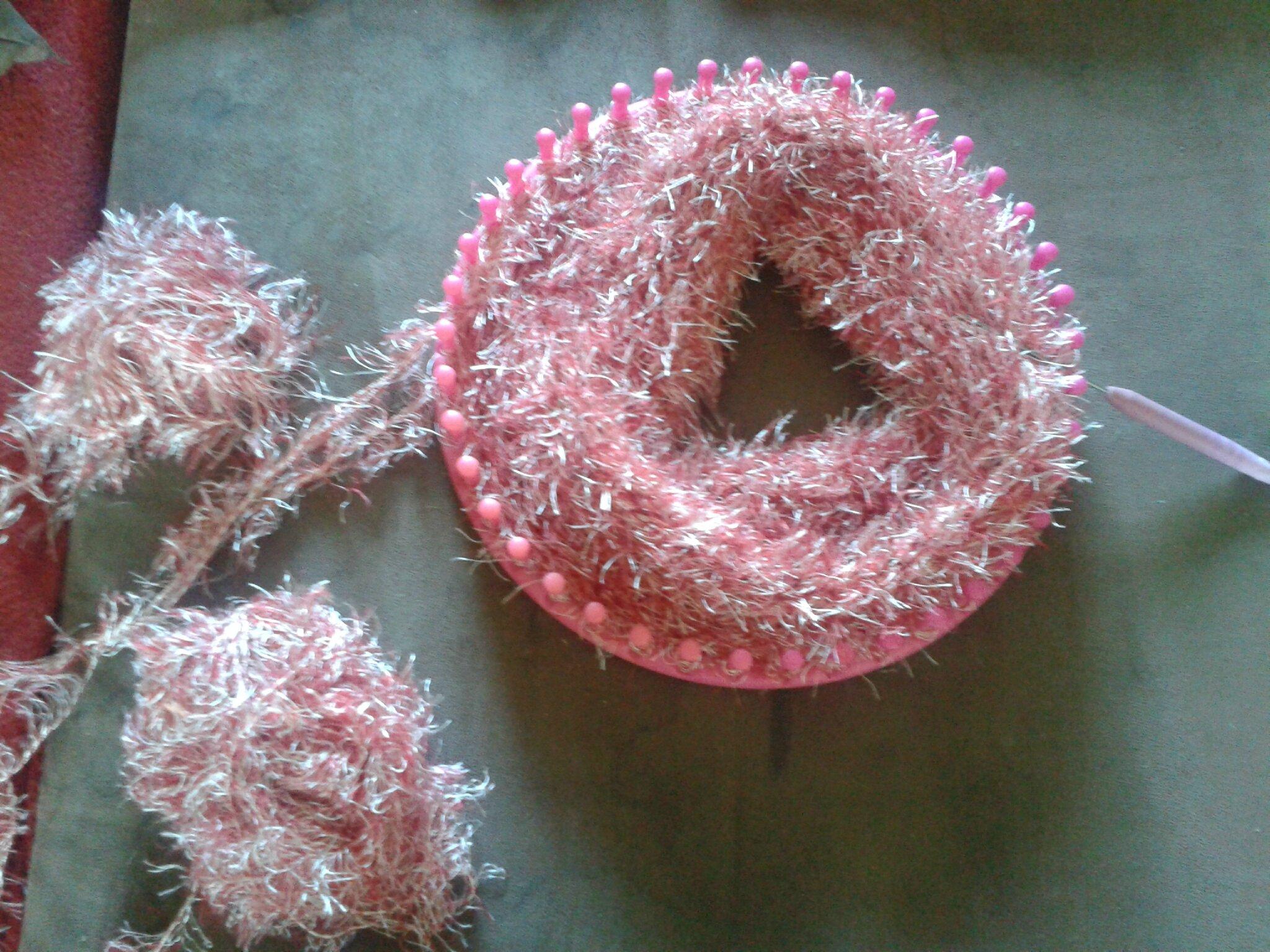 Mon deuxi me snood au tricotin aux fils des doigts - Que faire avec un tricotin ...