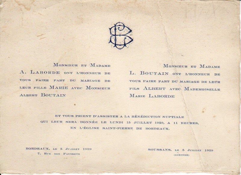 faire part mariage 1930