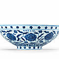 A very rare imperial blue and white 'peony scroll' bowl, xuande six-character mark in a line and of the period (1426-1435)