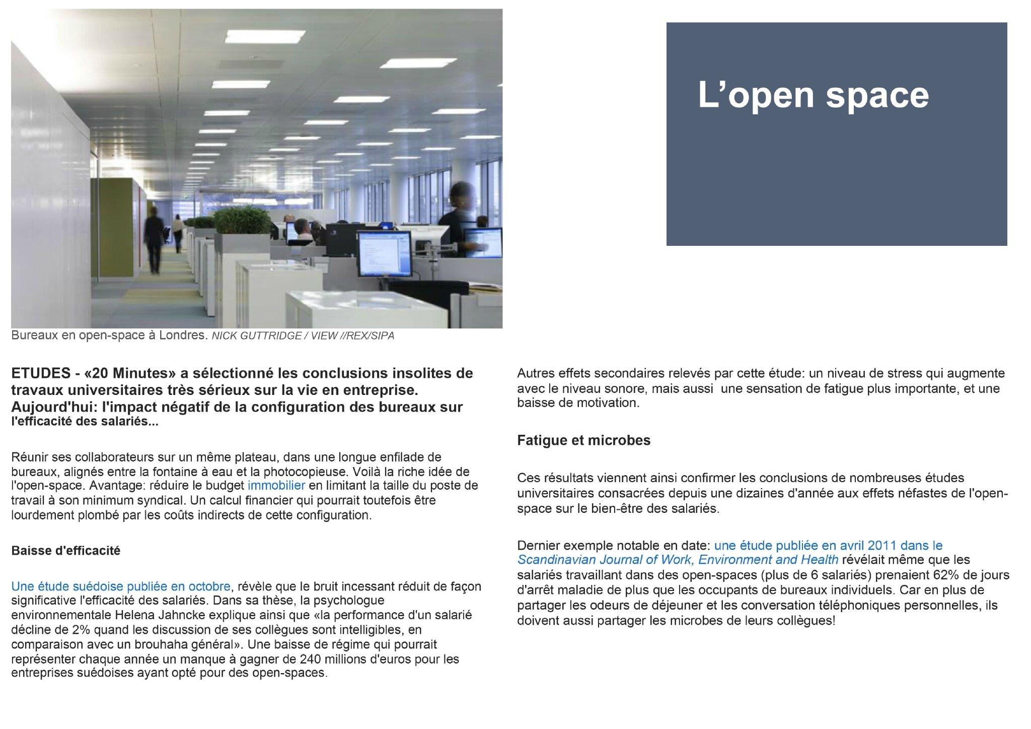 L 39 open space article du 20 minutes astuces et conseils d for Conseil architecte d interieur