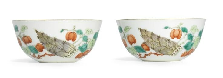 A fine pair of famille-verte cups, Daoguang marks and period