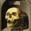 German School, circa 1600, A skull, a lizard, coins and an hourg