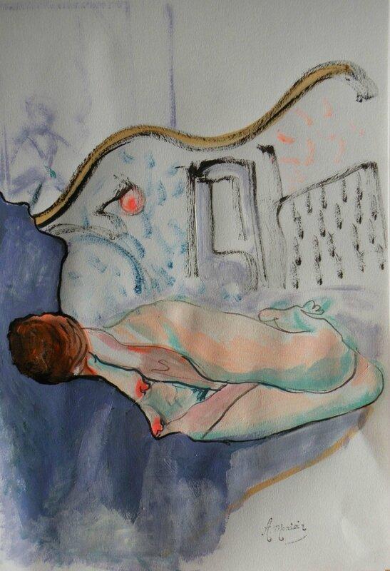 Tableaux de nus dessin et peinture modèle vivant-Béa