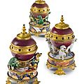 An assembled set of three Louis XV ormolu-mounted Chinese and Japanese porcelain 'Pot-pourri' vases, circa 1735, the porcelain