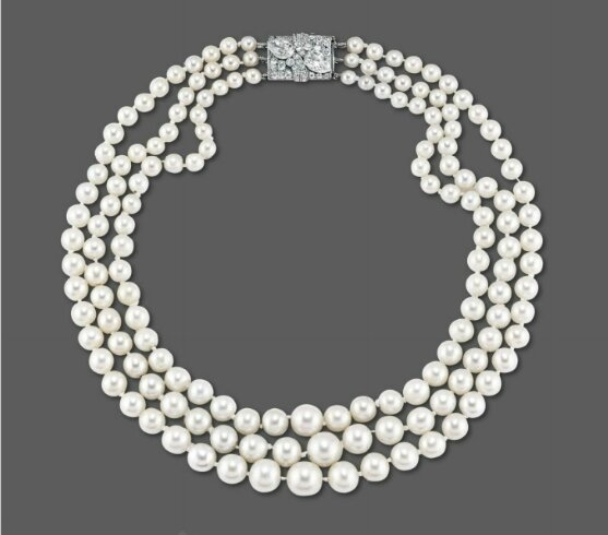 A fine natural pearl and diamond necklace