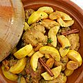 Le tajine de poulet, coings et abricots secs