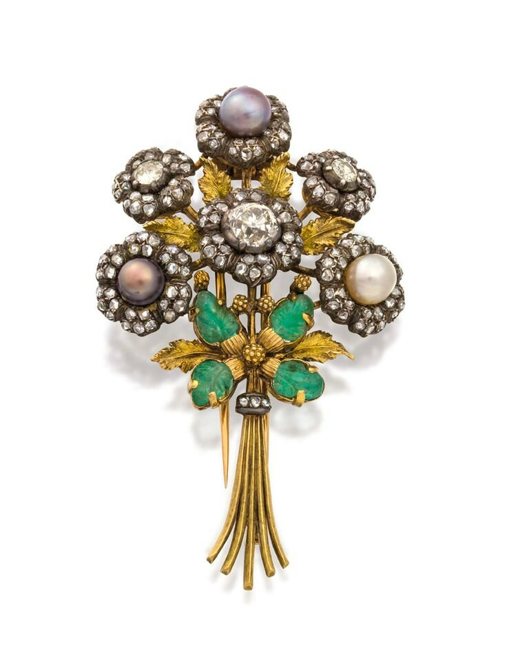 Diamond, emerald and pearl brooch, Buccellati