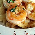 Risotto de céleri et crevettes sautées à l'ail et au sirop de gingembre