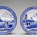 A pair of blue and white 'scheveningen' dishes, kangxi period (1662-1722)