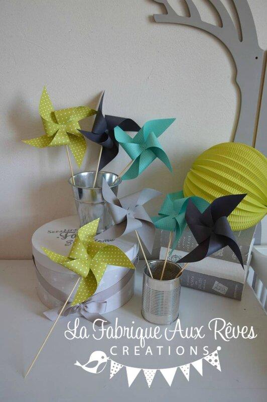 moulins à vent turquoise anis gris mariage photobooth bapteme baby shower décoration chambre enfant garçon bébé