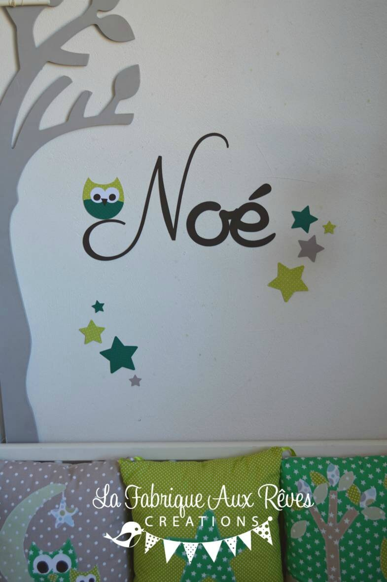 Stickers pr nom gar on hibou toiles chocolat anis vert d coration chambre b b hibou toiles for Decoration chambre bebe hibou