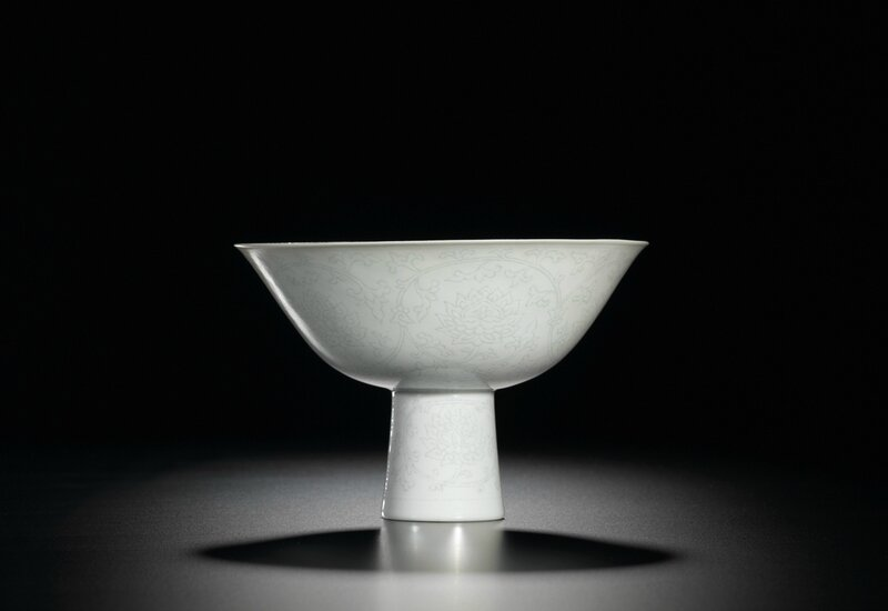 A finely incised-decorated 'Anhua' stembowl, mark and period of Qianlong(1736-1795)