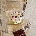 Porte-clef donut muliticolore et chocolat (N)