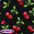 Tissu Cherries Black Stretch pour robe pin up, jupe circle, robe