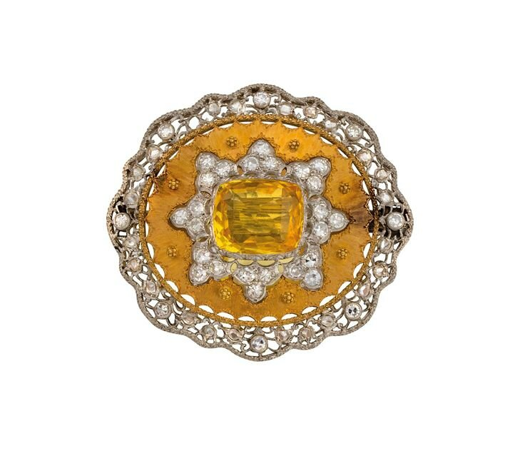 18ct bi-colour gold, yellow sapphire and diamond brooch, Buccellati